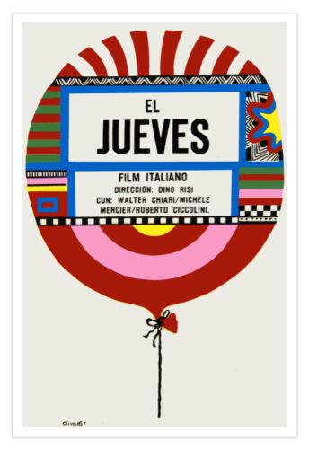 Spanish movie Poster for Italian film El JUEVES.Thursday Balloon.Home Decor Art.