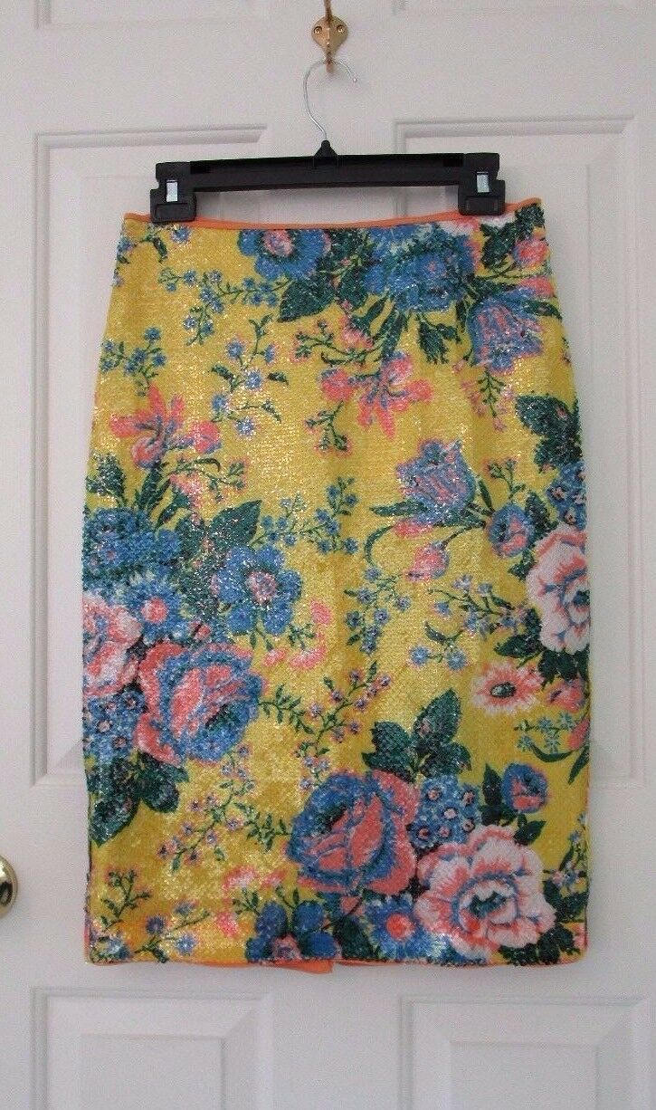 NWT Diane von Furstenberg Furstenberg Furstenberg Yellow Tailored Floral-Print Pencil Skirt 6  298 5c373a