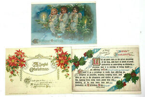 Lot-3-Vintage-1950s-Christmas-Post-Cards-A-Sunshine-Card-Reproduction-of-Antique