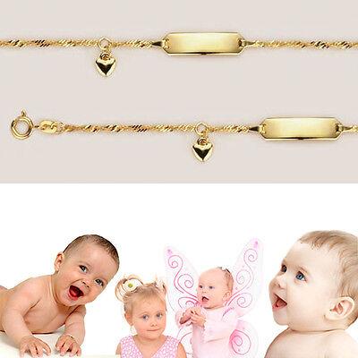 Baby Taufe Namen Datum Gravur Armband Echt Gold 333 8 Kt Singapur Kette Mit Herz