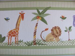 SAVANNAH-Jungle-Wild-Animal-Safari-Theme-Green-BABY-NURSERY-WALL-PAPER-BORDER
