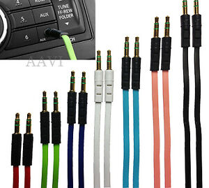 FLAT-Colorful-Gold-Plated-Auxiliary-Car-Music-Aux-Cable-Cord-for-iPod-MP3-Phones