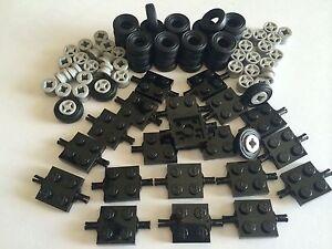 NEW-LEGO-100-Lot-Car-Parts-Wheels-Tires-Axles-Rims-100-Pieces-Small-Truck