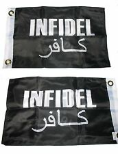 12x18 Black Infidel 2 Faced 2-ply Wind Resistant Flag 12x18 Inch
