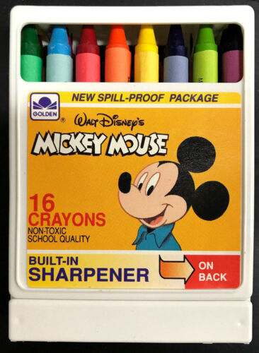 Rare Vintage Mickey Mouse 16 Crayons w//Built-In Sharpener Disney Golden Books