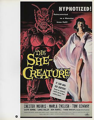 "2003 Vintage Horror /""The She-Creature/"" MINI Art Plate Lithograph"