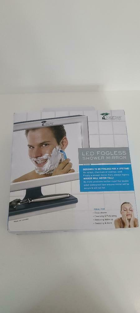 LED Fogless Lighted Shower Mirror with Squeegee