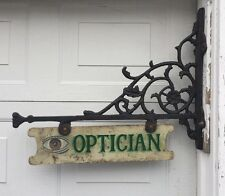 """Antique 31x24"""" Cast Iron Optician Optometry Double-Sided Sign w/ Bracket EXC!"""