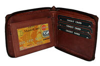 Mens Vintage Brown Leather Zip Around Bifold Wallet Purse Coins by Leatherboss