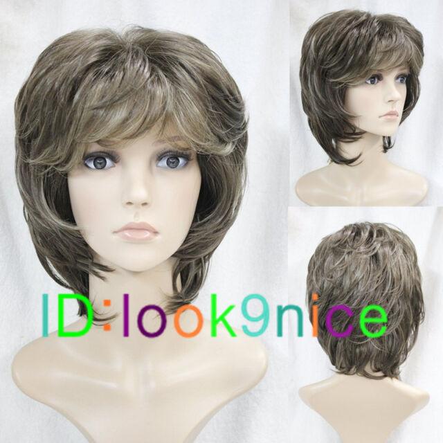 Fashion wig Sexy Women's Short Dark Brown Mix Natural Hair wigs + Wig cap F237