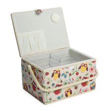 Hobby Gift Owl Design Sewing Box on Natural Large 23.5 x 31 x 20cm