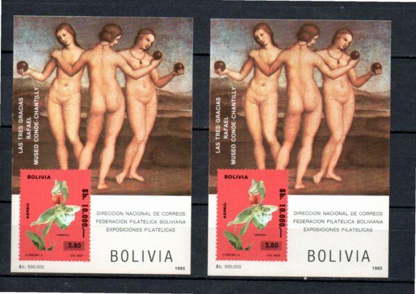"""1985 Bolivia-2 Sheets """" Flores, Pinturas, Flowers, Paints Rafael """" Mint éConomisez 50-70%"""