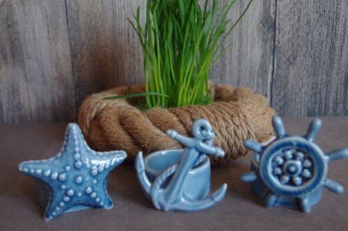 3er Set Teelichthalter von Formano Sommerdeko  Keramik Maritim