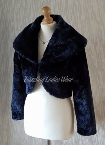 Dark Blue//Navy Faux Fur Bolero Jacket//Shrug//Wrap Large Collar Long Sleeves New
