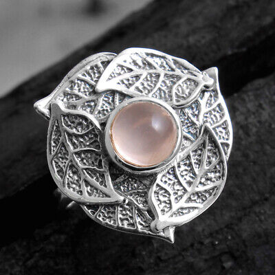 Rose Quartz Ring Sz 9 925 Sterling Silver Indian Jewelry Collection Birthday Gift Authentic Gemstone Jewellery From SilverStarJewel