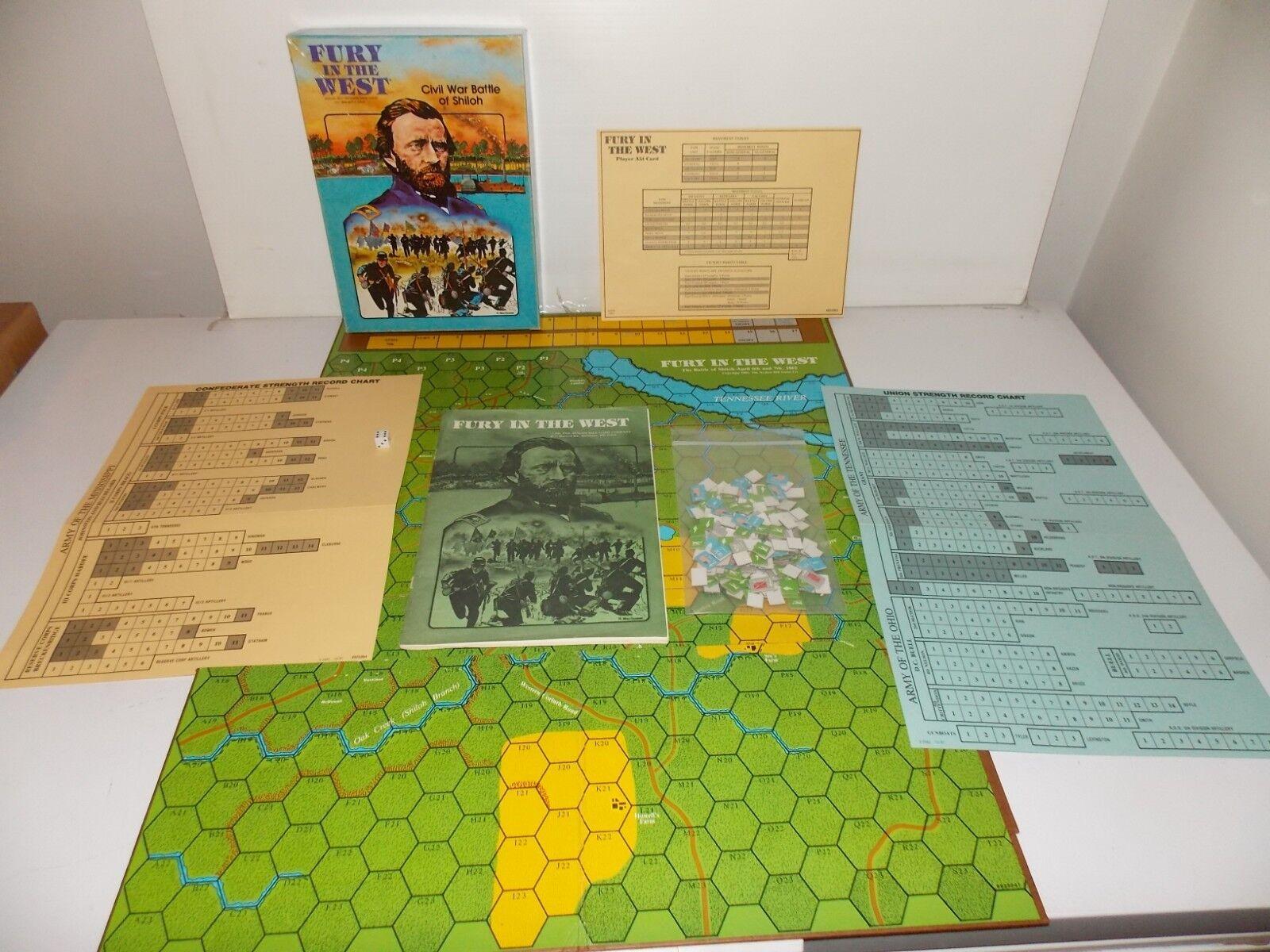 1981 Fury in the West Avalon Hill gioco Civil  War Battle of Shiloh  stile classico