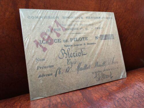 Licence pilote Blériot n°1 Commission Sportive Aéronotique aviation aviateur