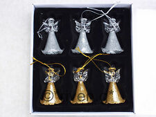 Guardian Angels CHRISTMAS Tree Decorations x 6@GOLD AND SILVER GLITTERED GLASS
