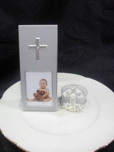 40 X Christening Baptism Communion Silver Diamante Cross Photo Frame Bomboniere