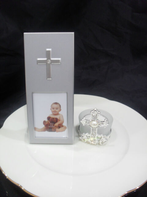 Diamante Cross Photo Frame Christening/Baptism/Communion  Bomboniere Favour