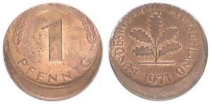 BRD 1 Pfennig 1971 g Fehlprägung: 15% dezentriert prfr. 63996