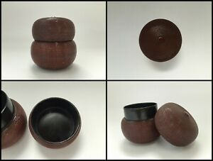Japanese-Wooden-Incense-Case-Vintage-Kogo-Tea-Ceremony-Lacquer-Ware-Lidded-Z015