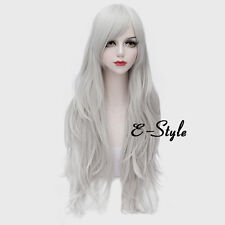 Basic 80CM White Long Wavy Style Women Heat Resistant Daily Cosplay Party Wig