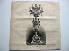 stampa antica old print LUME CANDELIERE MAIOLICA GINORI - KEDIVE - FIRENZE 1878