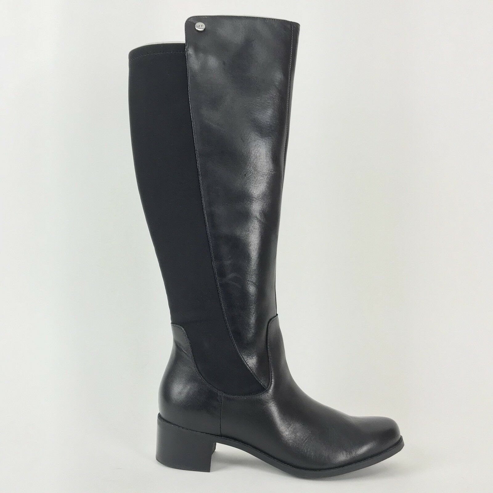 Marc Fisher 8.5 Black Incept Wide Calf Leather Tall Shaft Womens Boots