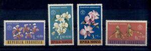 FLEUR-ORCHIDEE-Indonesie-serie-de-4-val-de-1962-PORT-OFFERT-FLOWER-ORCHID