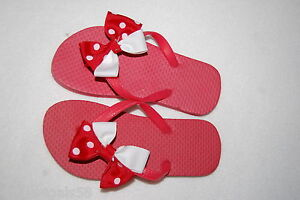 Details About Toddler Girls Hand Decorated Flip Flops Red Ribbon Bow White Polka Dot 8 9