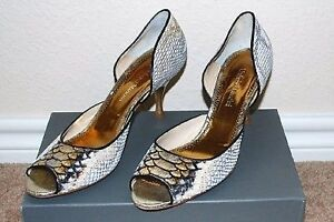 b8222ce520d Details about New Umberto Mancini Python Snake Women's Designer Italian  Shoes Pumps Sandals