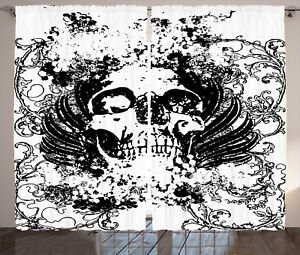 Gothic-Curtains-Dark-Horror-Scary-Skull-Window-Drapes-2-Panel-Set-108x90-Inches