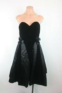 VICTOR-COSTA-VTG-80s-Velvet-Sweetheart-Bubble-Skirt-Black-Dress-Party-Evening-4