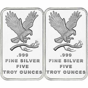 Trademark-Bald-Eagle-5oz-999-Fine-Silver-Bar-by-SilverTowne-QTY-of-2