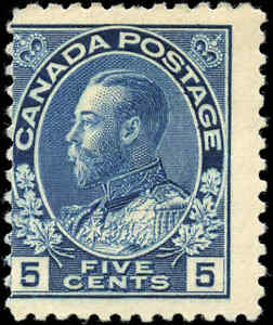 Mint-H-Canada-5c-1914-VG-F-Scott-111-King-George-V-Admiral-Stamp