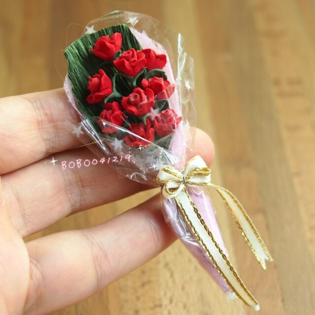 Dollhouse Miniature 1:12 A Bunch Of Clay Flowers Red Rose Length 7.8cm SPO133