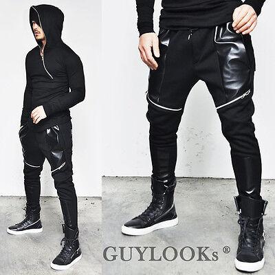 Funky Slant Zipper Mens Slim Semi Baggy Faux Leather Biker Sweatpants By Guylook