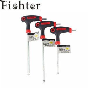 T-L-Handle-bike-Allen-key-Hex-key-wrench-4-5-6mm-L-Set-W-Ball-end-bicycle-tool