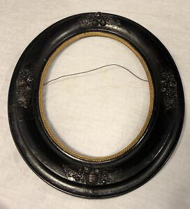 Antique-Victorian-Wood-Oval-Picture-Frame-Ebonized-Gilded-Liner-Fruit