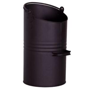 Coal-Hod-Black-Metal-Wood-Scuttle-Fireside-Fireplace-Bucket-Bin-By-Home-Discount