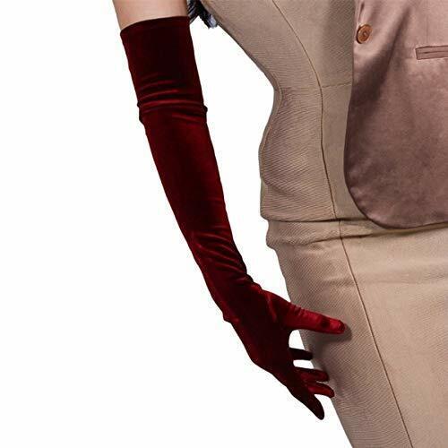 DooWay Women Long Velvet Gloves Opera Length Costume Evening Banquet Stretch ...
