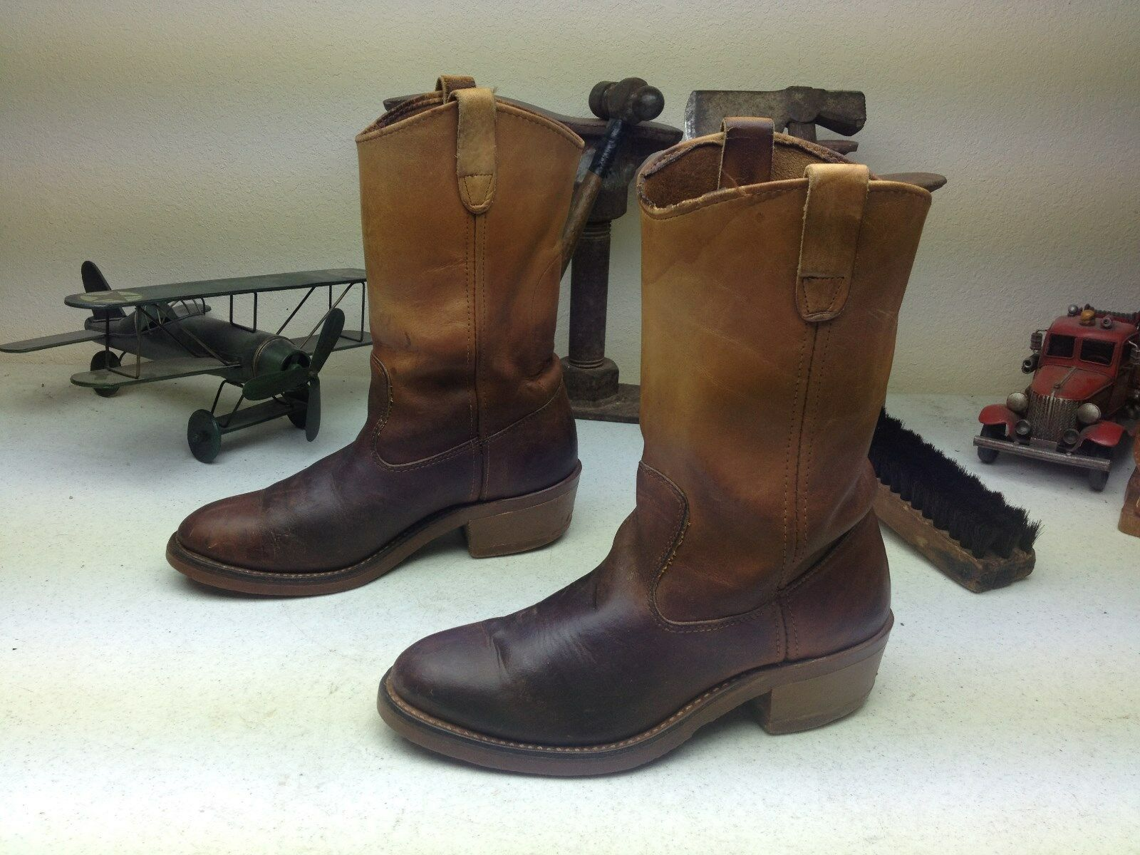 VINTAGE MADE IN USA DOUBLE H BROWN ENGINEER WESTERN LEATHER BOSS BOOTS 7.5 D