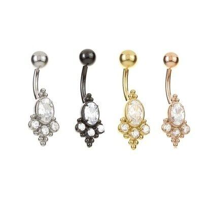 Surgical Steel Navel // Belly Bar Gold Cluster CZ crystals Black PVD Rose