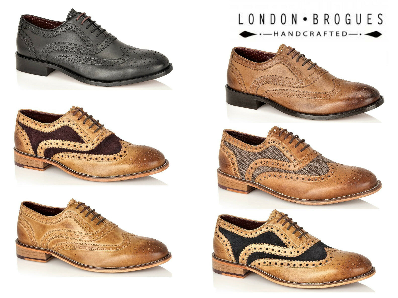 Uomo London Brogues Watson Full Leder Brogues 5 Eye Lace Up Smart Schuhes
