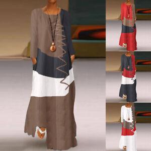 ZANZEA-Femme-Couture-Manche-Loisir-Ample-Longue-Col-Rond-Droit-Jupe-Robe-Plus