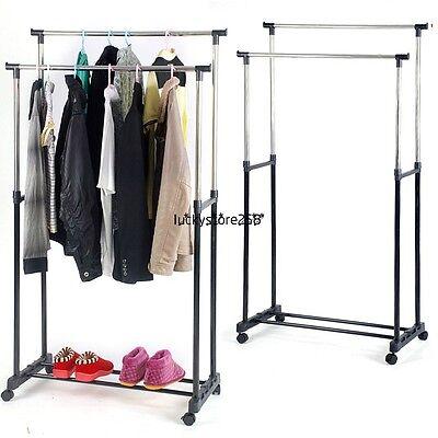 Home Double Rod Garment Rack Rolling Adjustable Bar Rail Rack Hang Clothes Shoes
