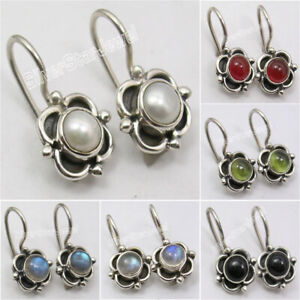 925-Sterling-Silver-Real-Gemstones-Earrings-Affordable-Wedding-Jewelry-NEW