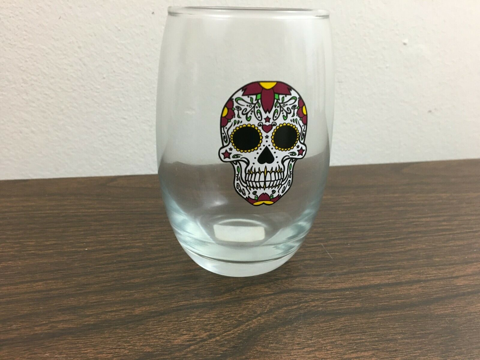 New Stemless Wine Glass Skull Floral Printed Smiling Halloween Drinkware Day Of Ebay