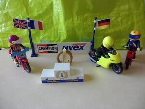 Playmobil-ensemble-3-motard-podium-RARISSIME